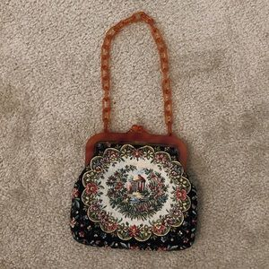 Vintage French Embroidered Coin Purse